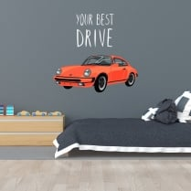 Classic Car Your Best Drive Printed Wall Sticker