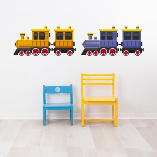 Wall Chimp Classic Duel Train Printed Wall Sticker