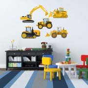 Construction Machinery Printed Wall Sticker Pack
