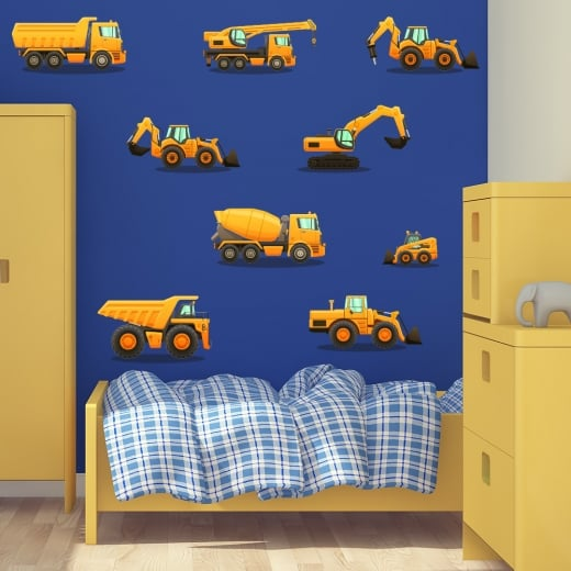 Wall Chimp Construction Machines Wall Sticker Pack
