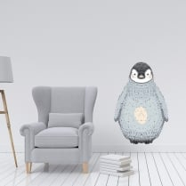 Cosy Penguin Printed Wall Stricker