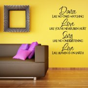 Dance Love Sing Live Wall Sticker Quote