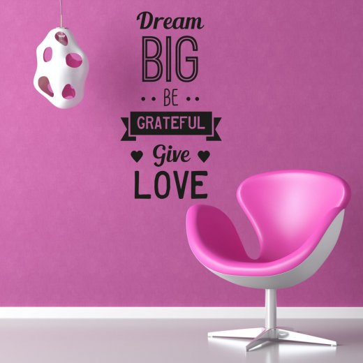 Wall Chimp Dream Big Be Grateful Wall Sticker Quote