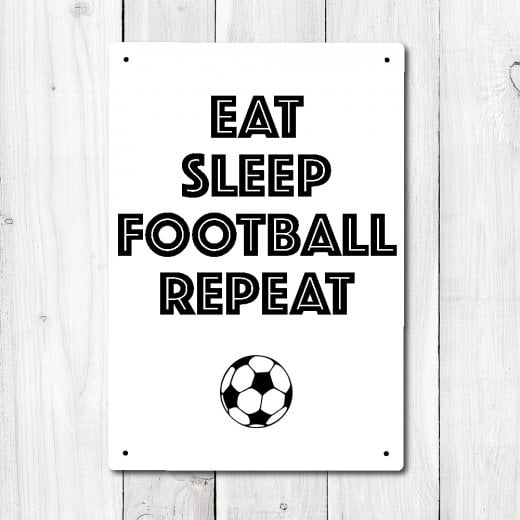 Wall Chimp Eat Sleep Football Repeat Metal Sign