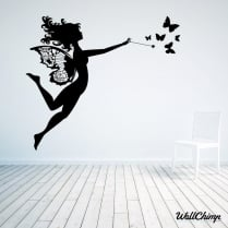 Fairy Flying With Butterflies Wall Sticker