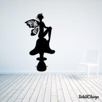 Fairy Princess Sitting On A Toadstool Wall Sticker