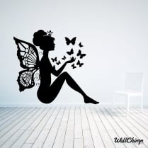 Fairy Sitting With Butterflies Wall Sticker