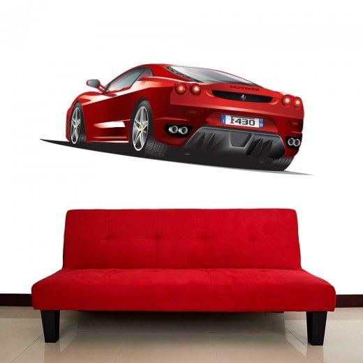 Wall Chimp Ferrari Red Sports Car Wall Sticker
