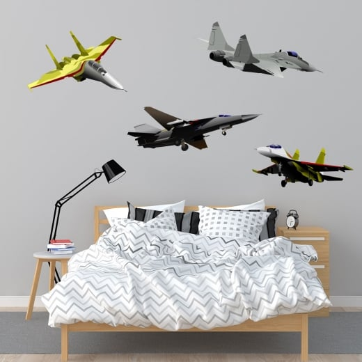 Wall Chimp Fighter Jet Printed Wall Sticker Pack