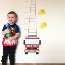 Fire Engine Printed Height Chart Wall Sticker