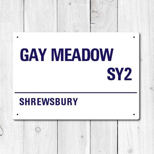 Wall Chimp Gay Meadow, Shrewsbury Metal Sign