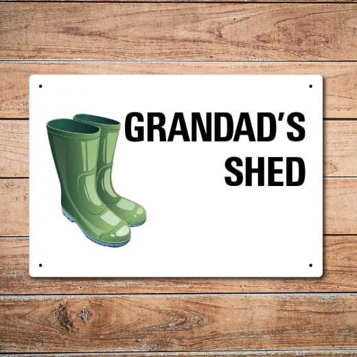 Wall Chimp Grandad's Shed Metal Sign
