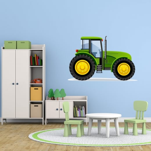 Wall Chimp Green Tractor Printed Wall Sticker
