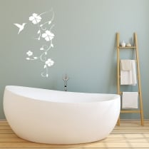 Hummingbird Trailing Flower Wall Sticker