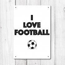 I Love Football Metal Sign