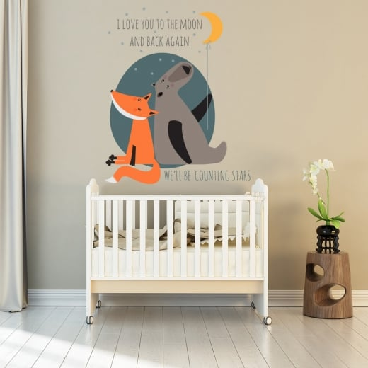 Wall Chimp I Love You To The Moon And Back Printed Wall Sticker