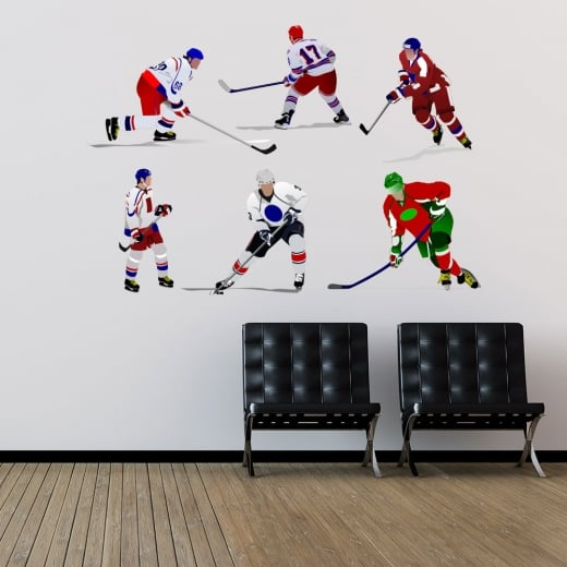 Wall Chimp Ice Hockey Players Printed Wall Sticker Pack