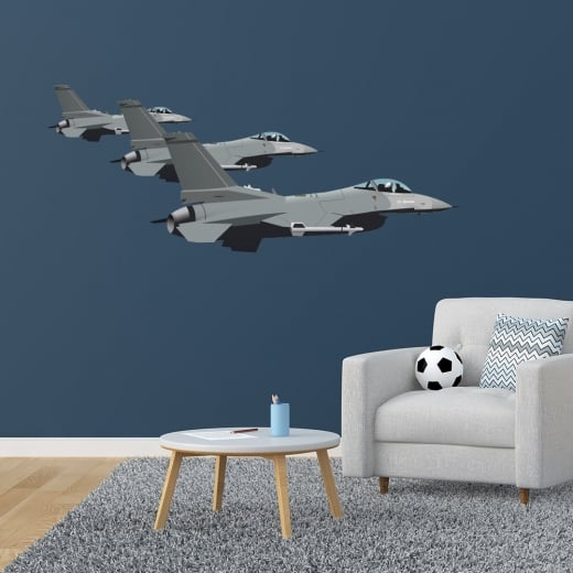 Wall Chimp Jet Fighters In Formation Wall Sticker