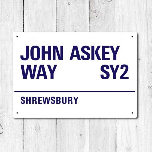 Wall Chimp John Askey Way, Shrewsbury Metal Sign