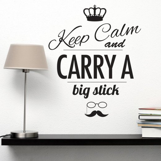 Wall Chimp Keep Calm Carry A Stick Hipster Wall Sticker