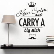 Keep Calm Carry A Stick Hipster Wall Sticker
