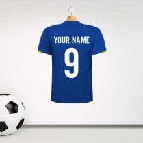 Leicester City Style Football Shirt Wall Sticker With Your Name & Number - Custom Design