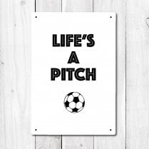 Life's A Peach Football Metal Sign