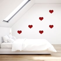 Limited Edition Red Glitter Heart Wall Sticker Pack