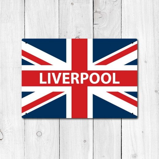 Wall Chimp Liverpool Great Britain Flag Sign