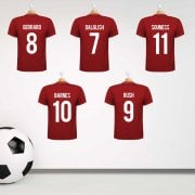 Liverpool Legends x5 Home (2018/19) Red Football Shirt Wall Sticker With Your Names & Numbers - Custom Design