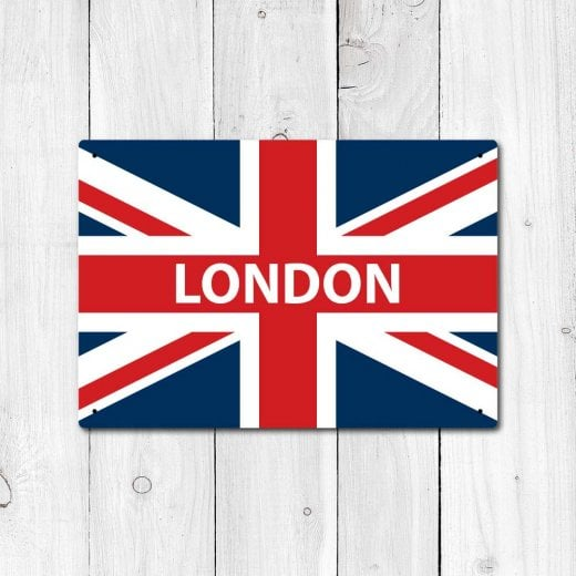 Wall Chimp London Great Britain Flag Sign