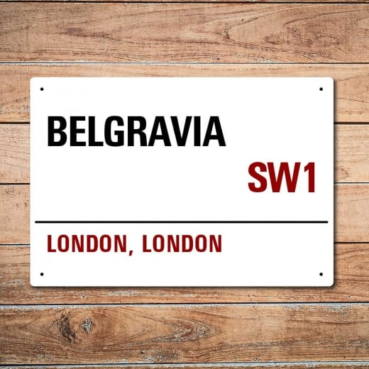 Wall Chimp London Metal Street Sign - Belgravia