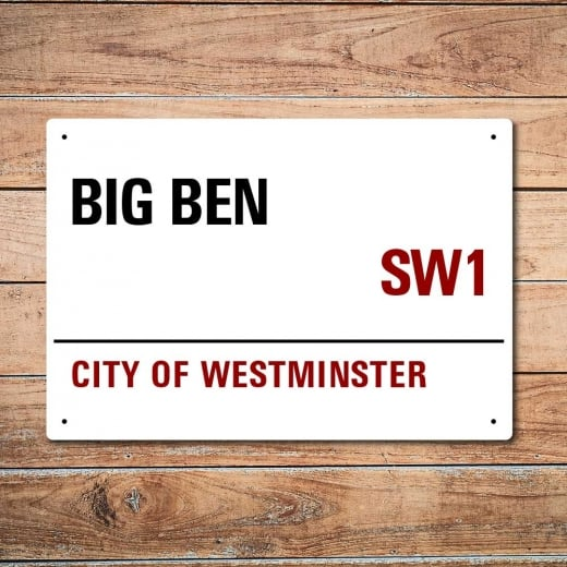 Wall Chimp London Metal Street Sign - Big Ben