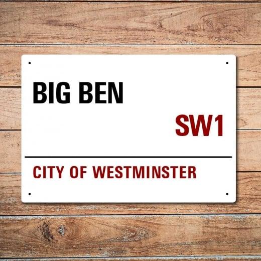 Wall Chimp London Metal Street Sign - Big Ben