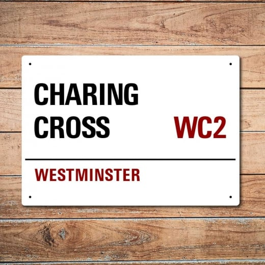 London Metal Street Sign - Charing Cross