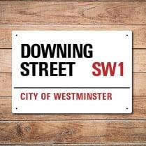 London Metal Street Sign - Downing Street