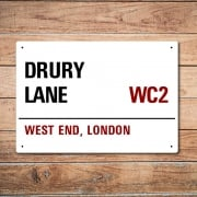 London Metal Street Sign - Drury Lane