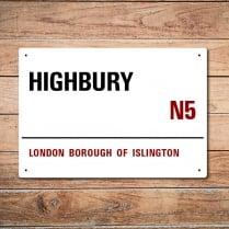 London Metal Street Sign - Highbury
