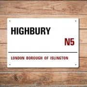 London Metal Street Sign - Highbury