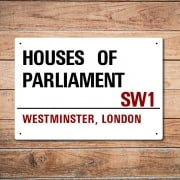London Metal Street Sign - Houses Of Parliament
