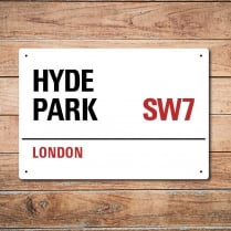 London Metal Street Sign - Hyde Park