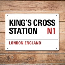 London Metal Street Sign - King's Cross Station