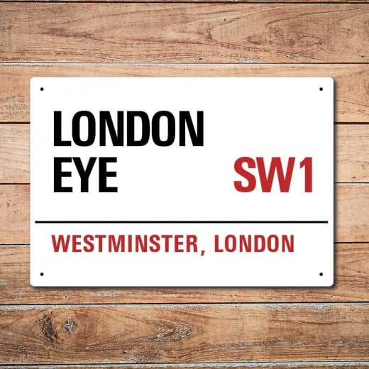Wall Chimp London Metal Street Sign - London Eye