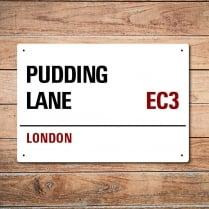 London Metal Street Sign - Pudding Lane