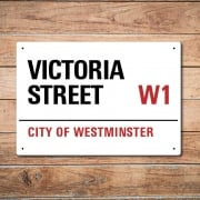London Metal Street Sign - Victoria Street