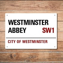 London Metal Street Sign - Westminster Abbey