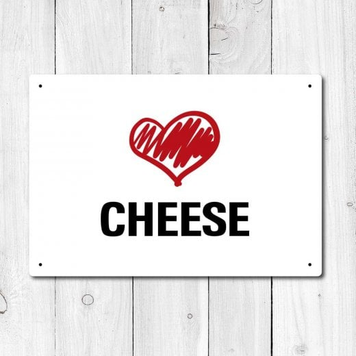 Wall Chimp Love Cheese Metal Sign