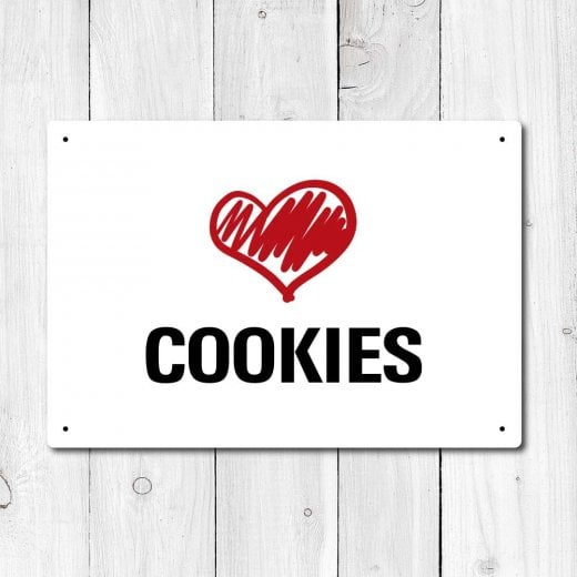 Wall Chimp Love Cookies Metal Sign