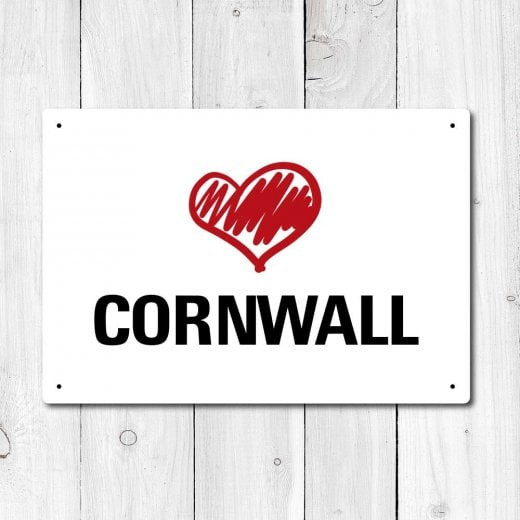 Wall Chimp Love Cornwall Metal Sign