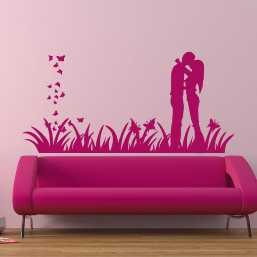Wall Chimp Love Couple Kissing Wall Sticker